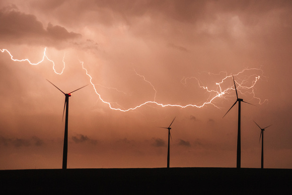 Lightning Over Wind Farm