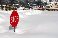 Stop Sign in Deep Snow