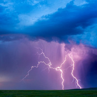 Beautiful Landscape with Lightning Bolts Striking in Eastern Wyo