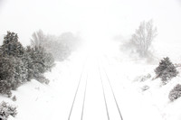 Railroad Tracks Leading into Blizzard