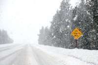 """Low Visibility Area"" Highway Sign During Snow Storm"