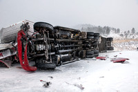 Overturned Semi-Truck During Blizzard
