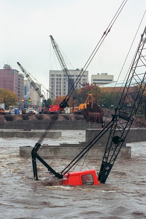 Construction Crane Submerged in Flood Waters
