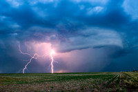 Cloud-to-Ground Lightning Over Farmland
