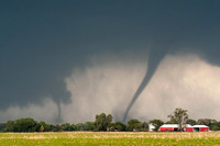 Two Tornadoes Striking Farm