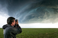Storm Chaser Taking Photo of Storm